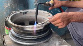 【巴铁手工】手工翻修断裂的铝合金汽车轮毂!
