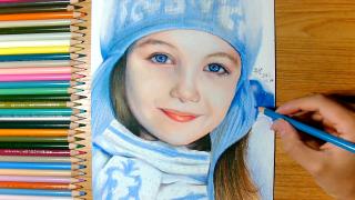 彩铅手绘:外国小美女