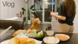 ×【VLOG】韩国小姐姐的日常生活,工作时吃寿司,饮食,炸薯条,糖醋排骨
